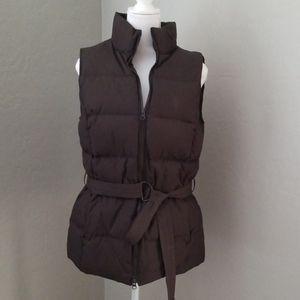 Gap Womens Brown Belted Down Zip Puffer Vest